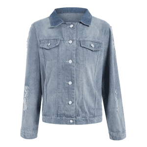 Shirt Neck Ripped Light Denim Jacket -