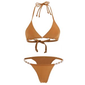 Stylish Halter Solid Color With Shell Women's Bikini Set -