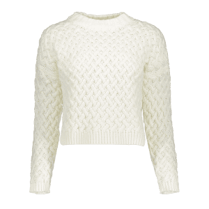 Mock Neck High Low Twist Braided Sweater - WHITE ONE SIZE