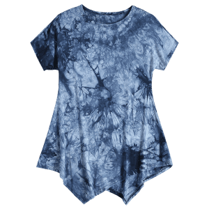 Tie Dyed Short Sleeve Asymmetrical T-Shirt For Women -