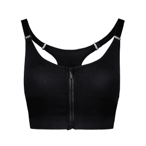 Cut Out Padded Push Up Strappy Racerback Sports Bra - BLACK S