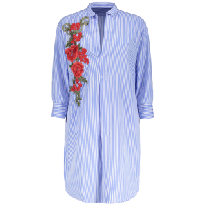Shirt Neck Striped Floral Embroidered Tunic Casual Shirt Dress - BLUE M