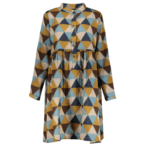 Buttoned Long Sleeve Geometric Smock Checked Shirt Dress -