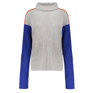 Turtleneck Color Block Chunky Sweater - JACINTH ONE SIZE