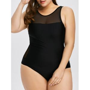 Plus Size Mesh Insert Racerback One Piece Swimwear - Black - 2xl