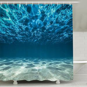 Sea World Print Waterproof Mouldproof Shower Curtain - Lake Blue - 150cm*180cm