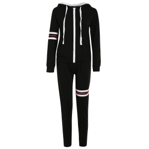 Striped Zip Up Hoodie and Joggers Pants - BLACK 2XL