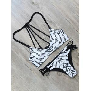 Geometric Print Strappy Bathing Suit