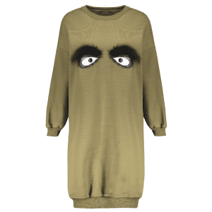Crew Neck Eye Pattern Sweatshirt Dress -