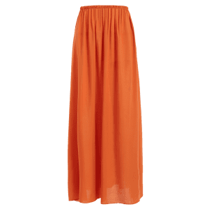 High Waisted Solid Color Long Skirt -