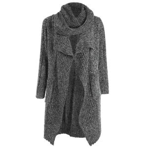 Drape Front Long Cardigan With Non-Detachable Knitted Scarf - GRAY ONE SIZE