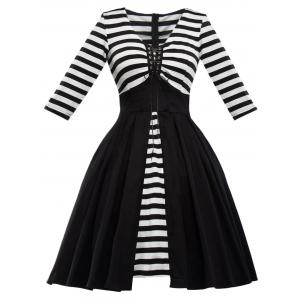 Retro Lace Up Stripe Robe évasée