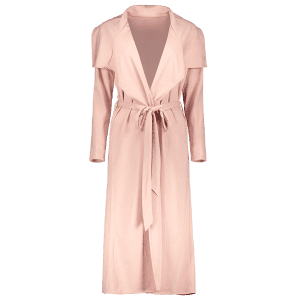 Draped Long Belted Duster Coat - PINK M