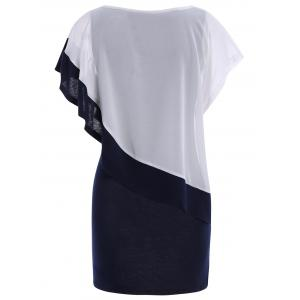 Color Block Refreshing Style Scoop Neck Short Sleeves Chiffon Women's Dress -
