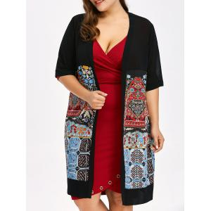 Plus Size Open Front Print Coat