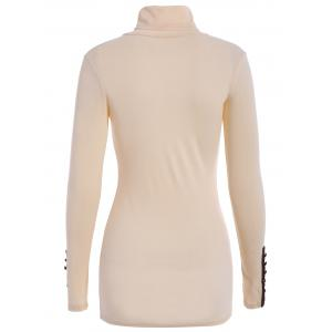 Casual Style Turtle Neck Solid Color Bead Splicing Long Sleeve Sweater For Women - LIGHT APRICOT ONE SIZE