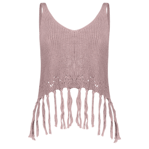Knitted Crop Top With Tassels -
