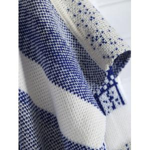 Casual Open Front Long Sleeve Jacquard Women's Long Cardigan - BLUE AND WHITE ONE SIZE(FIT SIZE XS TO M)