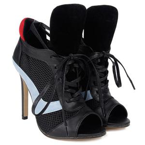Grid Mesh Panel Lace Up Stiletto Heel Bootie Sandals - BLACK 39