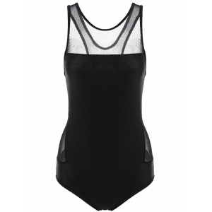 Mesh Panel High Neck Backless Swimsuit - BLACK L