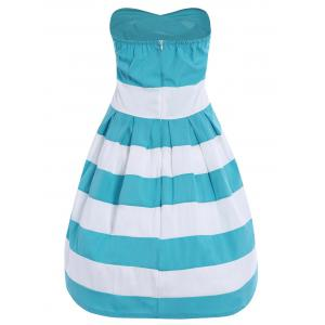 Strapless Striped Color Block Sleeveless Homecoming Dress - BLUE/WHITE S