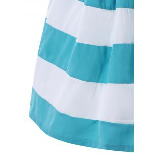 Strapless Striped Color Block Sleeveless Homecoming Dress - BLUE AND WHITE S