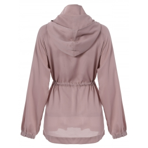 Casual Style Hooded Neck Solid Color Draw Cord Ruffle Zipper Long Sleeve Coat For Women -