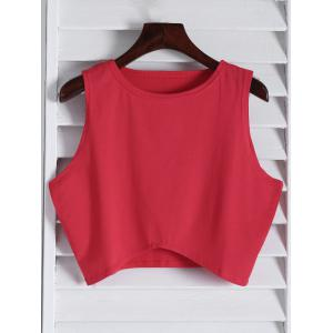 Stylish Round Collar Sleeveless Black Women's Crop Top - Red - Xl