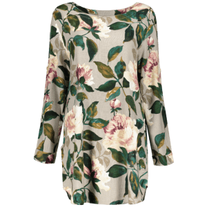 Round Neck Long Sleeve Floral Linen Blouse Dress -