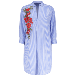 Striped Floral Embroidered Shift Casual Shirt Dress - BLUE M