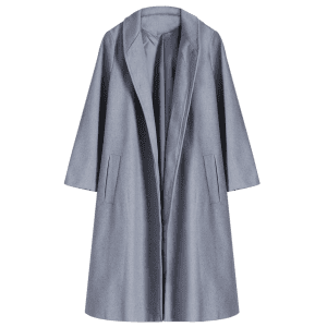 Shawl Neck Gray Wool Blend Coat -