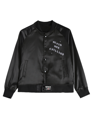 Cheap Stand Neck Letter Print Single-Breasted Bomber Jacket