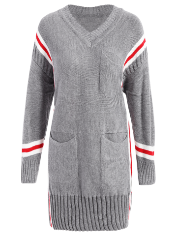 Store Striped Long Sweater GRAY ONE SIZE