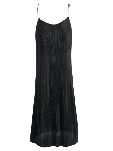 Affordable Pleated Cami Knee Length Dress BLACK L