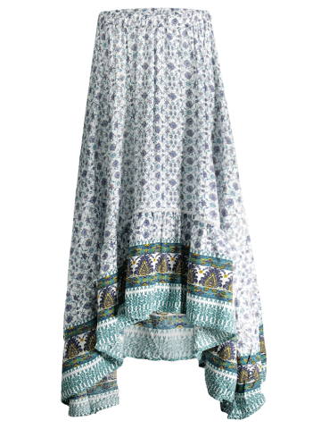 Shop Bohemian Patterned High Low Maxi Skirt WHITE L