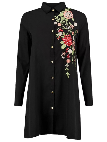 Sale Floral Long Sleeve Embroidered Polo Shirt Dress BLACK L