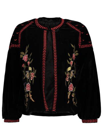 Fancy Puffed Sleeve Floral Embroidered Velvet Jacket BLACK L
