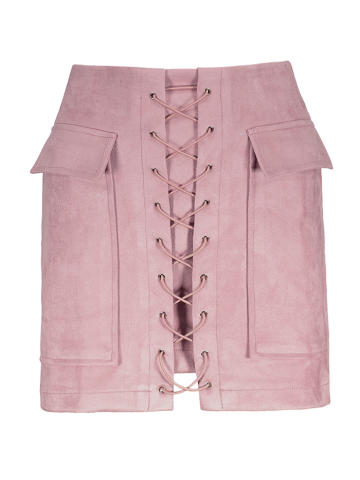 Chic Faux Suede Mini Skirt With Pockets PINK S