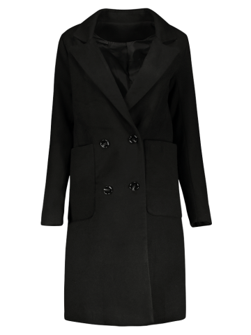 Manteau Long Walker Double Breasted Noir L
