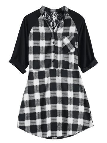 Outfits Lace Inset Checked Mini Shift Shirt Dress - XL CHECKED Mobile