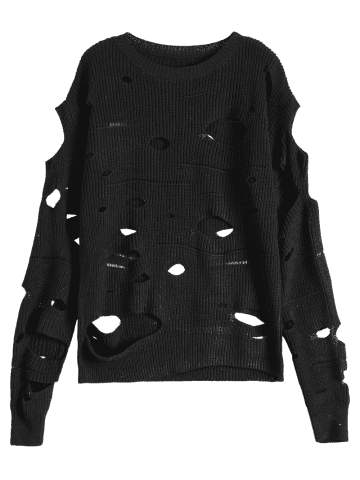 Trendy Crew Neck Cut Out Sweater - M BLACK Mobile