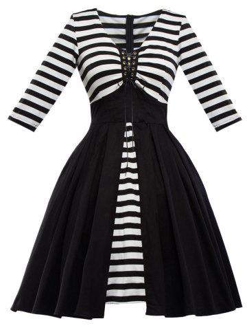 Retro Lace Up Stripe Flare Dress - Black - 2xl