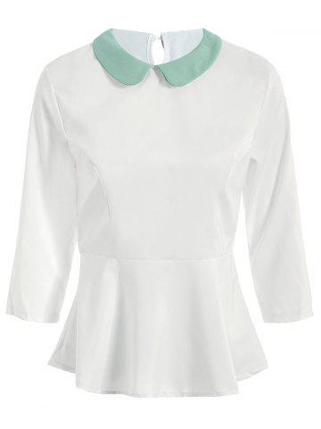 Sweet Peter Pan Collar 3/4 Sleeve Flounced Blouse For Women - WHITE M