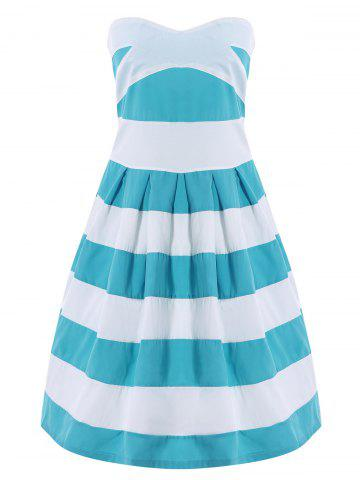 New Strapless Striped Color Block Sleeveless Homecoming Dress BLUE/WHITE L
