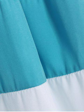 Chic Strapless Striped Color Block Sleeveless Homecoming Dress - L BLUE AND WHITE Mobile