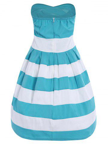 Trendy Strapless Striped Color Block Sleeveless Homecoming Dress - L BLUE AND WHITE Mobile