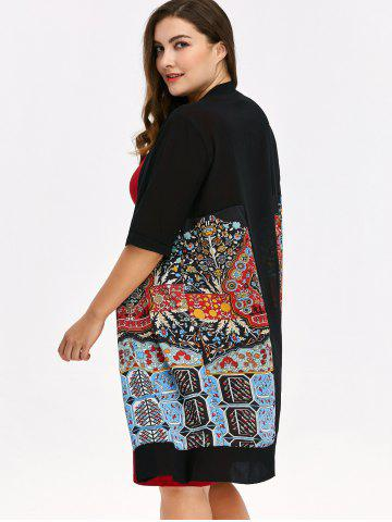 Affordable Plus Size Open Front Print Coat - ONE SIZE BLACK Mobile