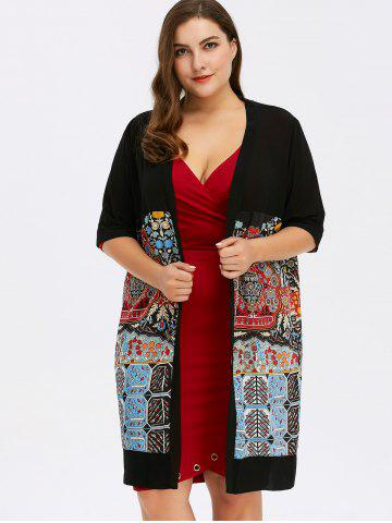 Outfit Plus Size Open Front Print Coat - ONE SIZE BLACK Mobile