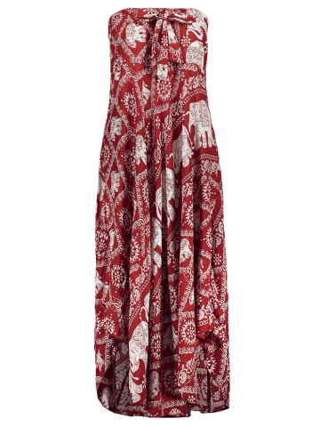 Affordable High Waisted Elephant Print Maxi African Print Skirt - ONE SIZE RED Mobile
