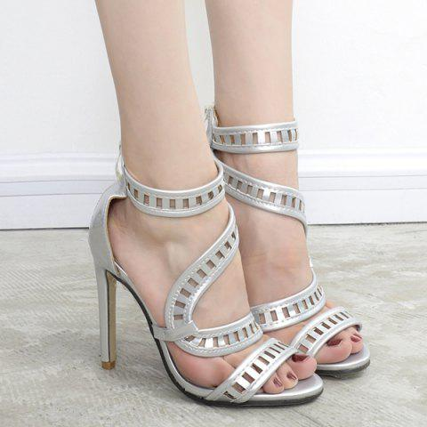 Cheap Zipper Back Stiletto Heel Sandals - 37 SILVER Mobile